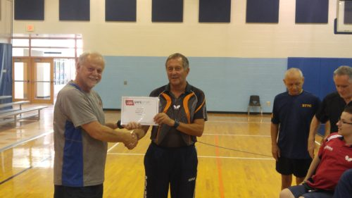 Safe Sport Certification presented to Coach Gary by John Reynolds.