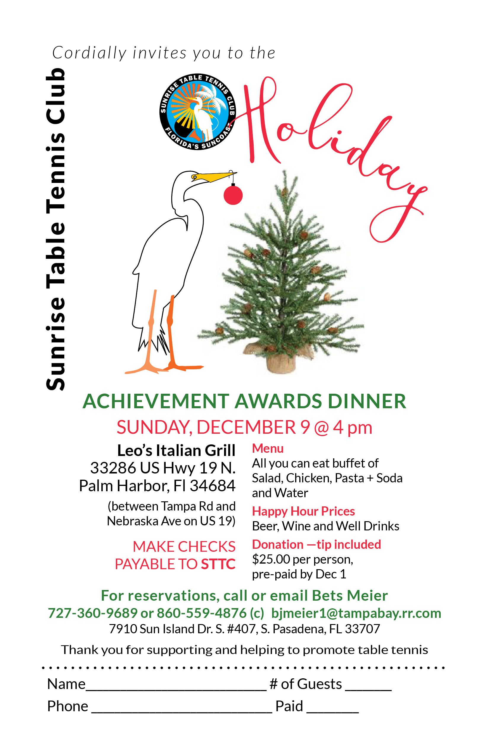 Holiday Achievement Awards Dinner - Sunrise Table Tennis Club